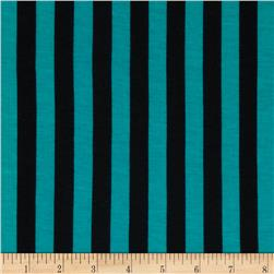 "Soft Jersey Knit 1/2"" Stripes Jade/Black"