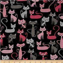 Robert Kaufman Whiskers & Tails Cats Allover Black