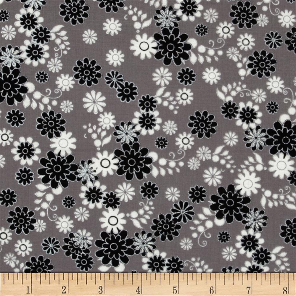 Black & White Metallic Flowers Grey