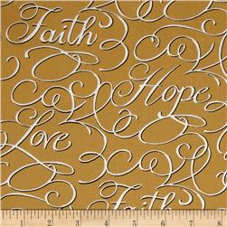 Faith, Hope & Love Words Gold