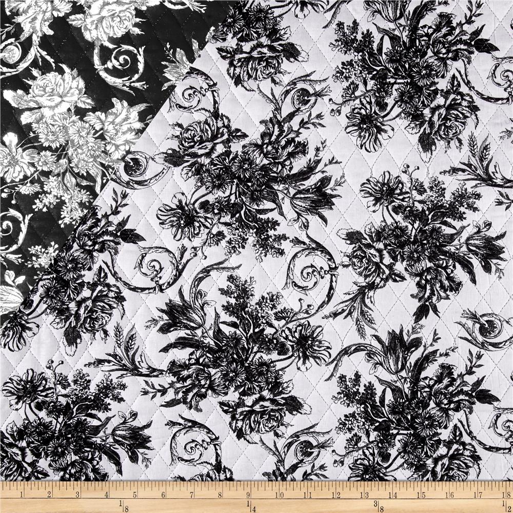 Sophisticates Double Sided Quilted  Monochromatic Floral Blk/Wht