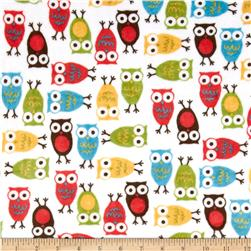 Minky Cuddle Urban Zoologie Night Owl Cherry Fabric