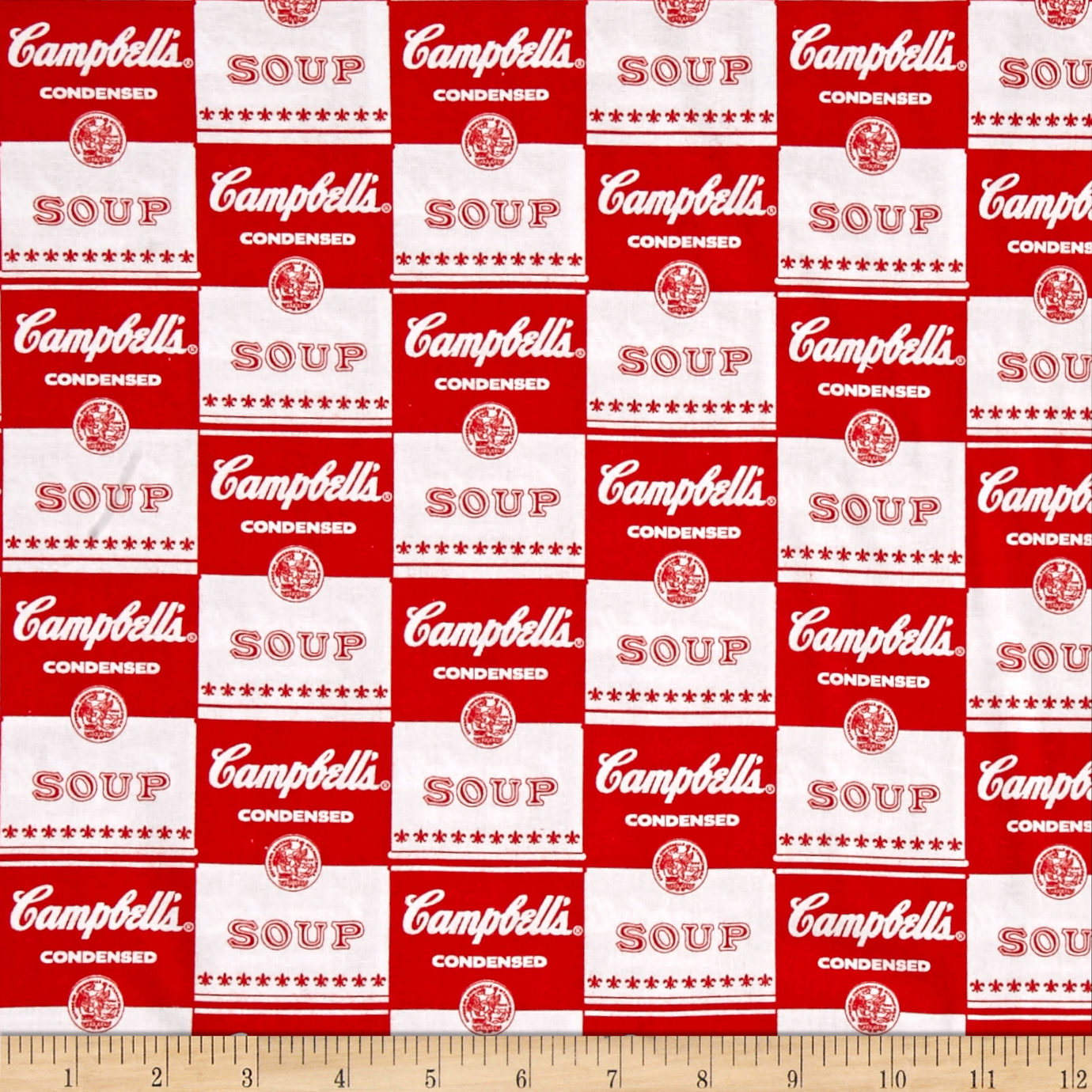 Campbells Soup Contemporary Soup Can Label Red Fabric by E. E. Schenck in USA