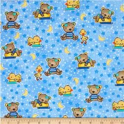 Comfy Flannel Baby Bears & Ducks Blue Fabric