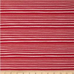 Onion Skin Striped Jersey Knit Red/White Fabric