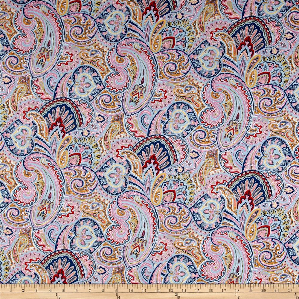 Paisley Lawn Pink/Navy/Goldenrod