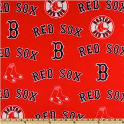 MLB Fleece Boston Red Sox Allover Red Fabric