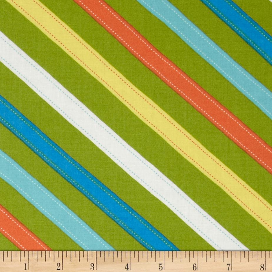 Moda ABC Menagerie Stitched Stripes Grass