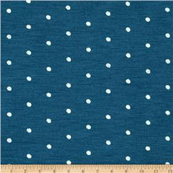 Stretch Blend Jersey Knit Polka Dots Marine Blue/White