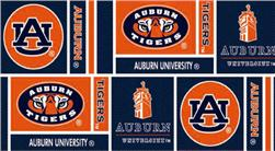 Collegiate Cotton Broadcloth Auburn University Squares