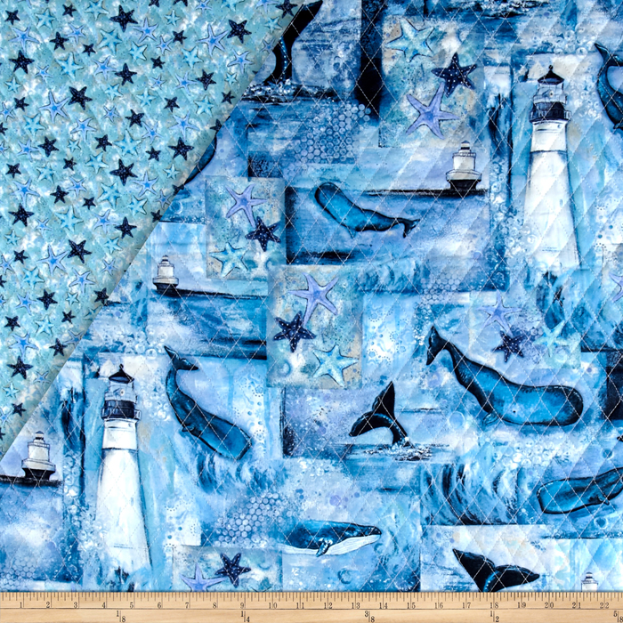 Follow The Light Double Sided Quilted Lighthouse & Whales Fabric by Fabri-Quilt in USA