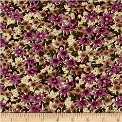 Corduroy Purple/Brown Flowers