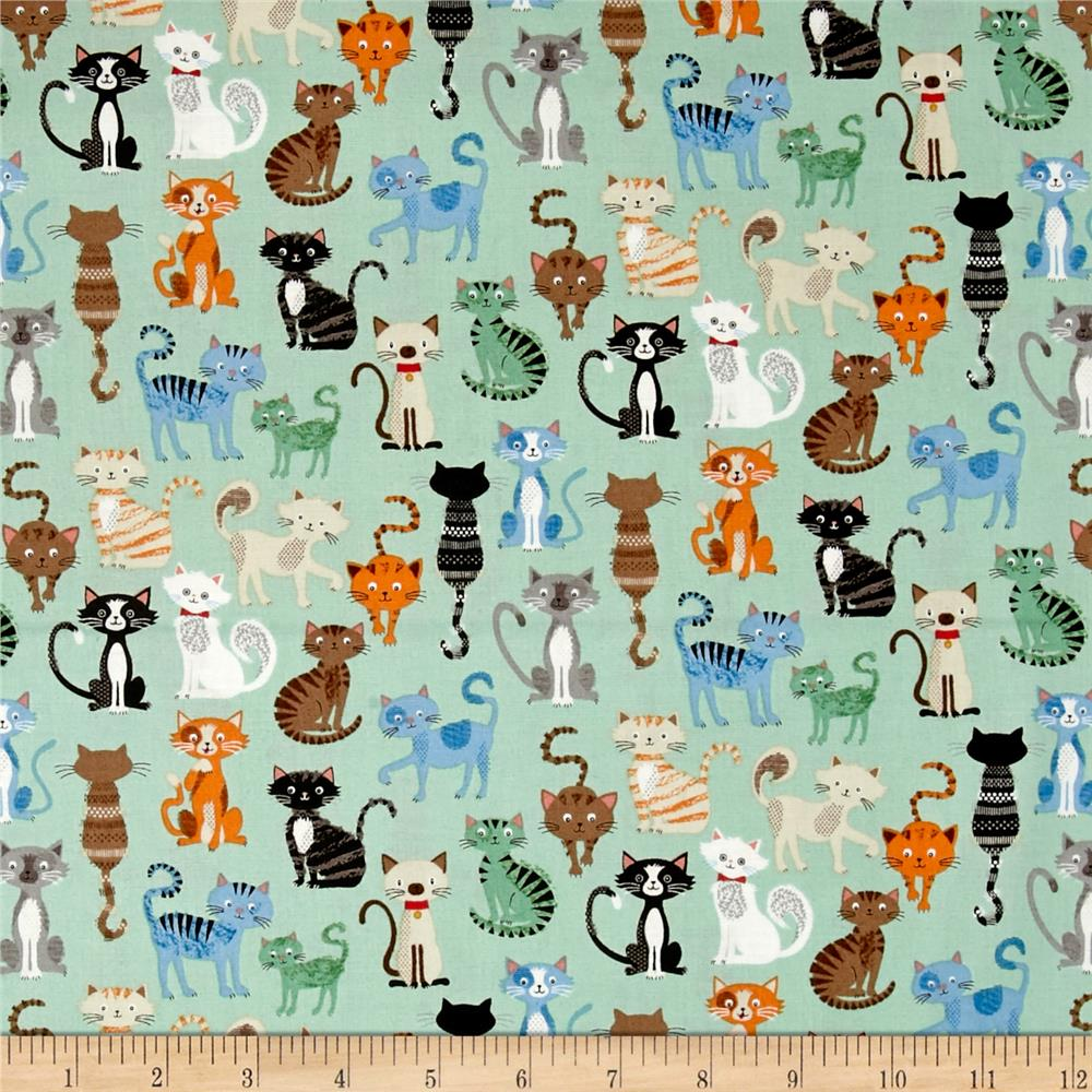 Crafty Cats Cat Crowd Teal