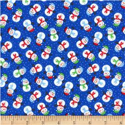 Timeless Treasures Christmas Mini Snowmen Blue Fabric