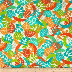 Kanvas Monkeying Around Tropical Leaf White/Orange Fabric