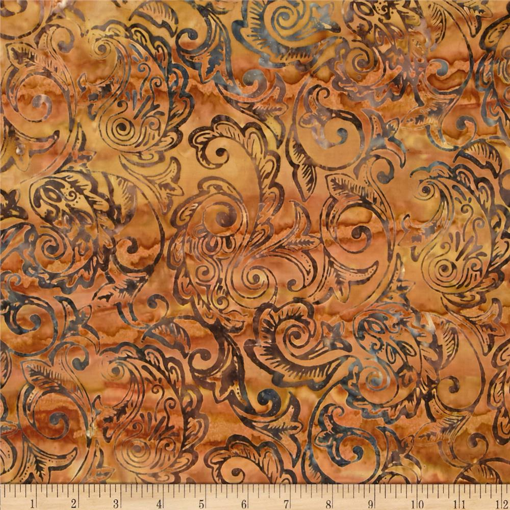 Timeless Treasures Tonga Batik Citrus Mint Feather Scroll