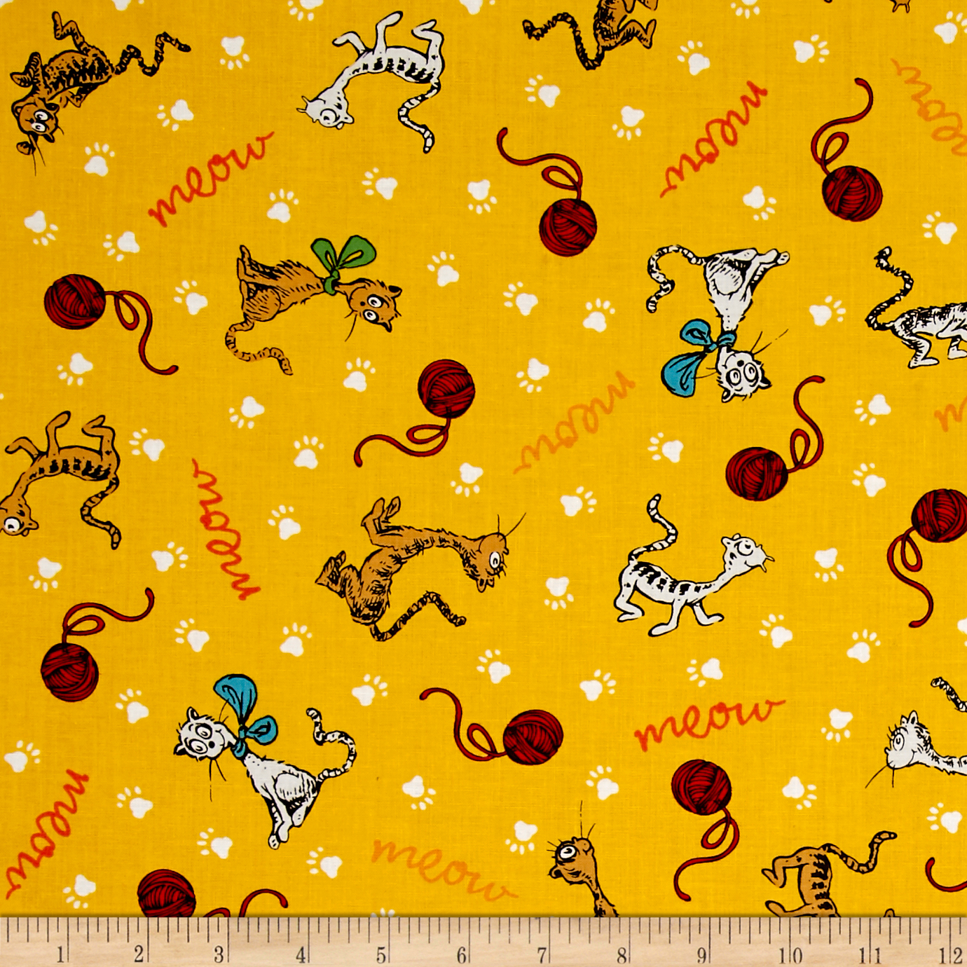 Dr Seuss What Pet Should I Get Meow Yellow Fabric