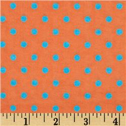 Aunt Polly's Flannel Small Polka Dots Orange/Aqua