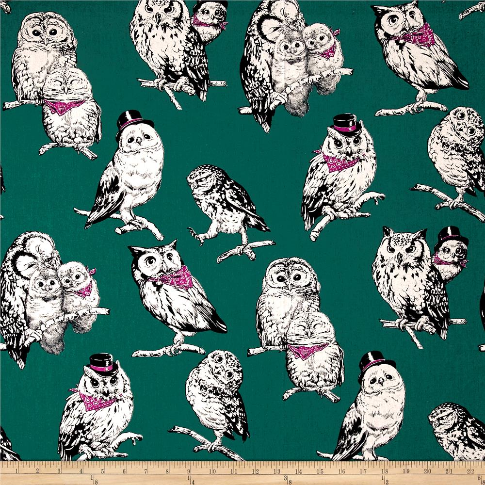Cosmo Country House Owls Printed Canvas Jade Fabric By The Yard