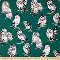 Cosmo Country House Owls Printed Canvas Jade