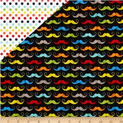 Riley Blake Double Sided Quilted Mustache Black