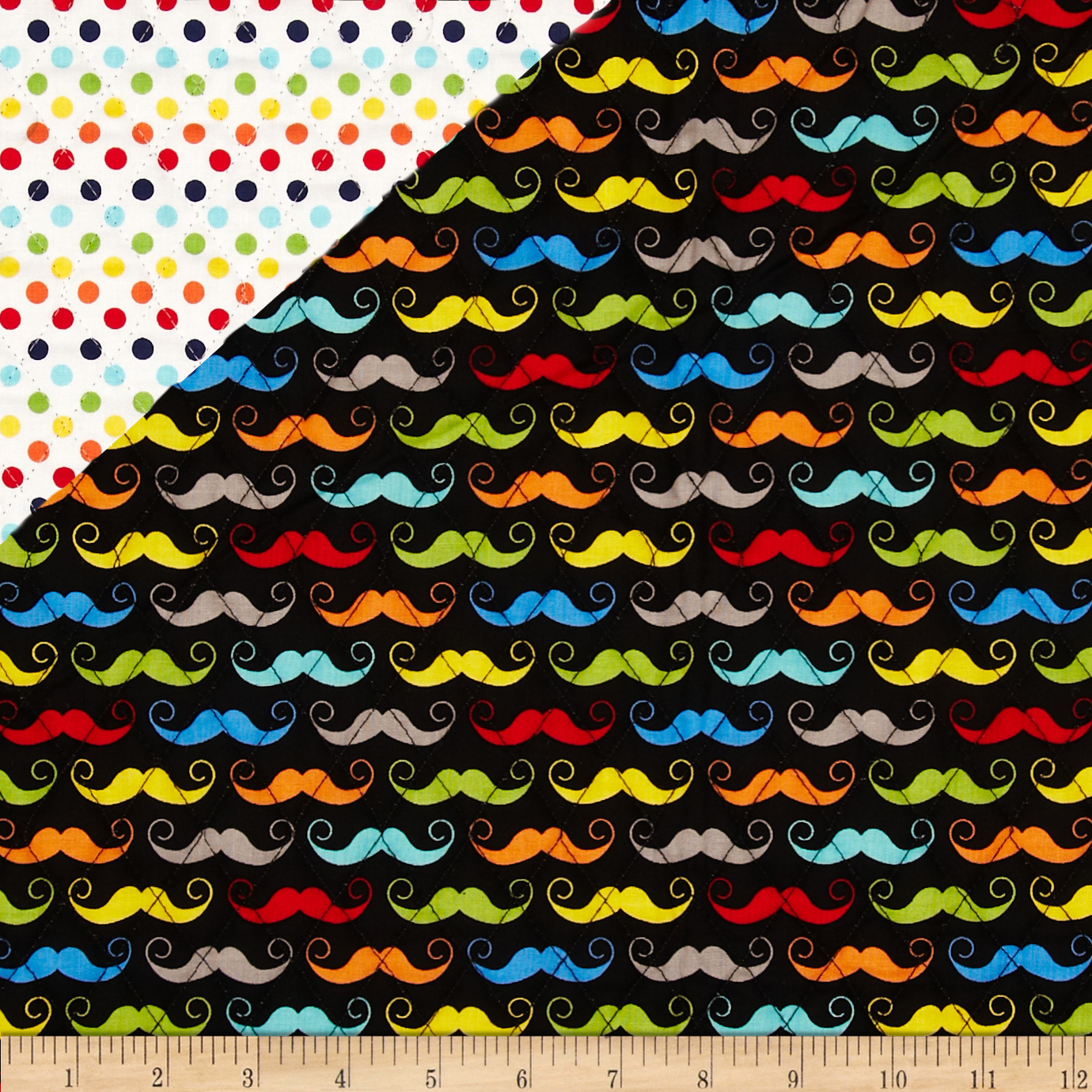 Riley Blake Double Sided Quilted Mustache Black Fabric