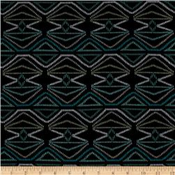 Rayon Spandex Jersey Knit Geometric Black/Turquoise/Green/White Fabric