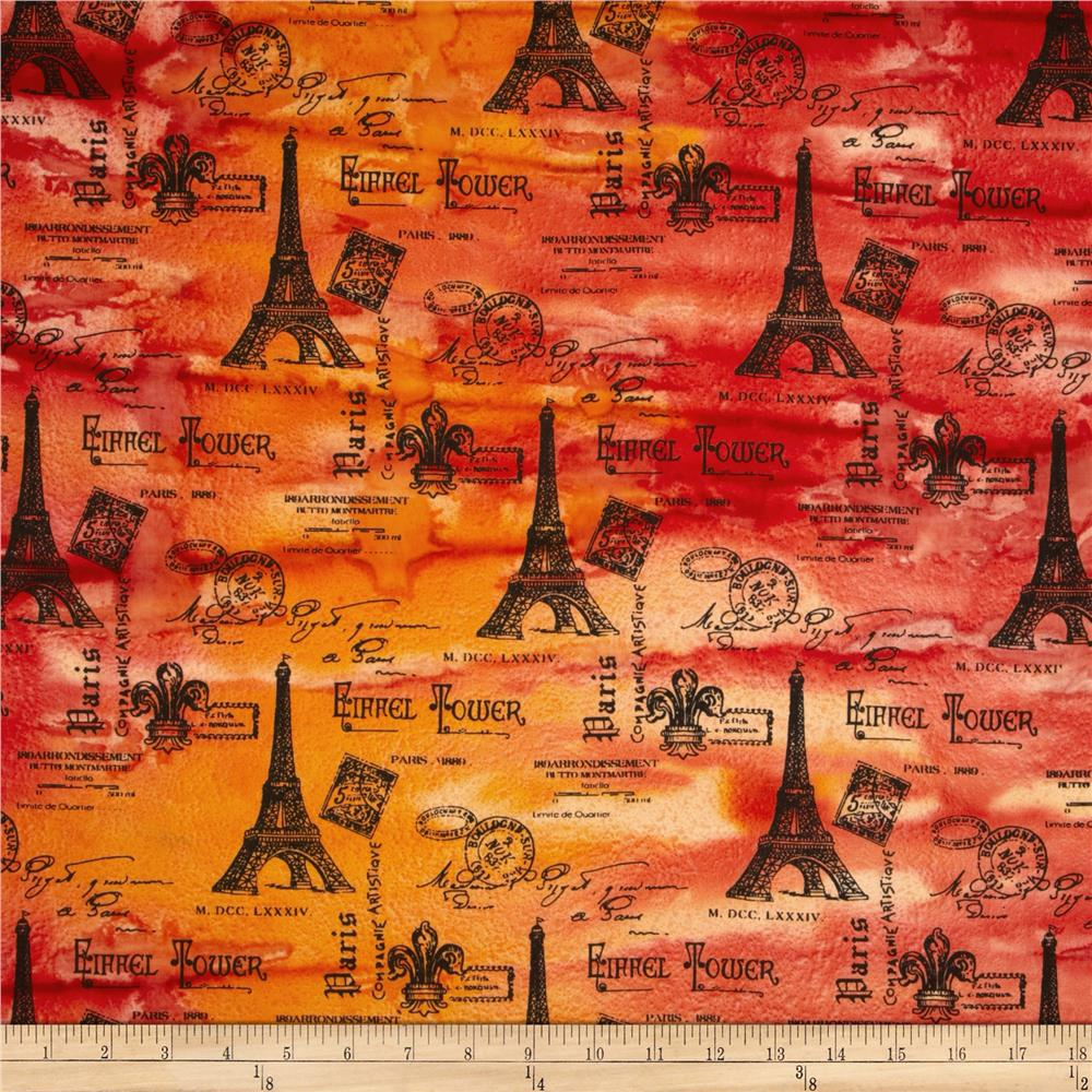 Indian Batik Eiffel Tower Red/Orange