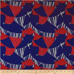 Kokka Echino Linen Blend Canvas Flag Bird Royal