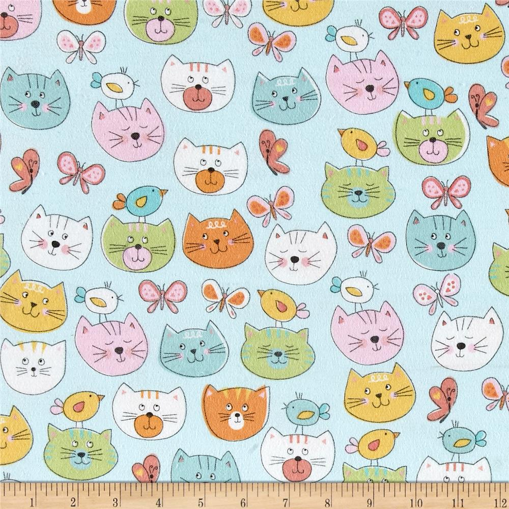 Comfy Flannel Cats Blue Fabric