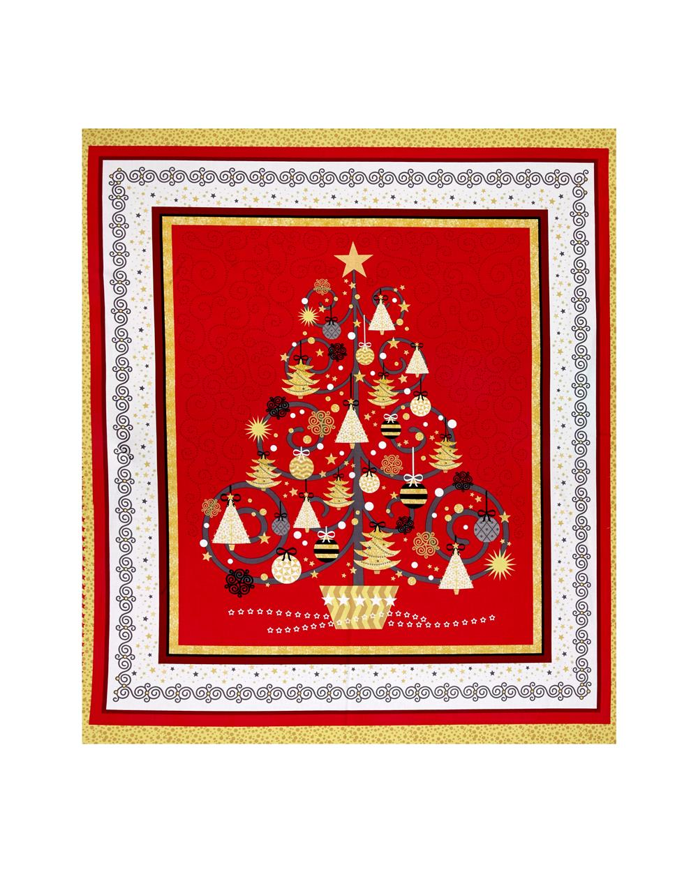 All That Glitters Metallic Christmas Tree 36 In. Panel Red
