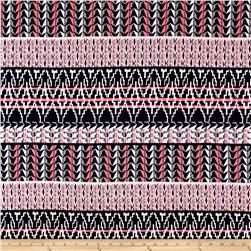 Stretch ITY Knit Aztec Abstract Print Navy Hot Pink