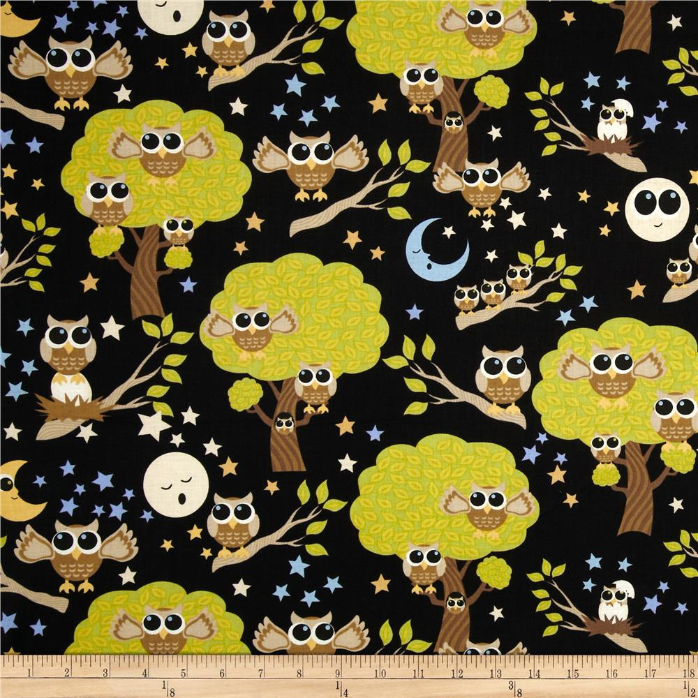 Kitschy Kawaii Owls Black