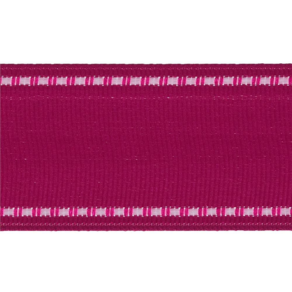 "1 1/2"" Grosgrain Stitched Edge Ribbon Fuchsia/White"