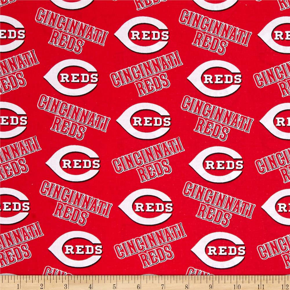 MLB Cotton Broadcloth Cincinnati Reds Red/White Fabric