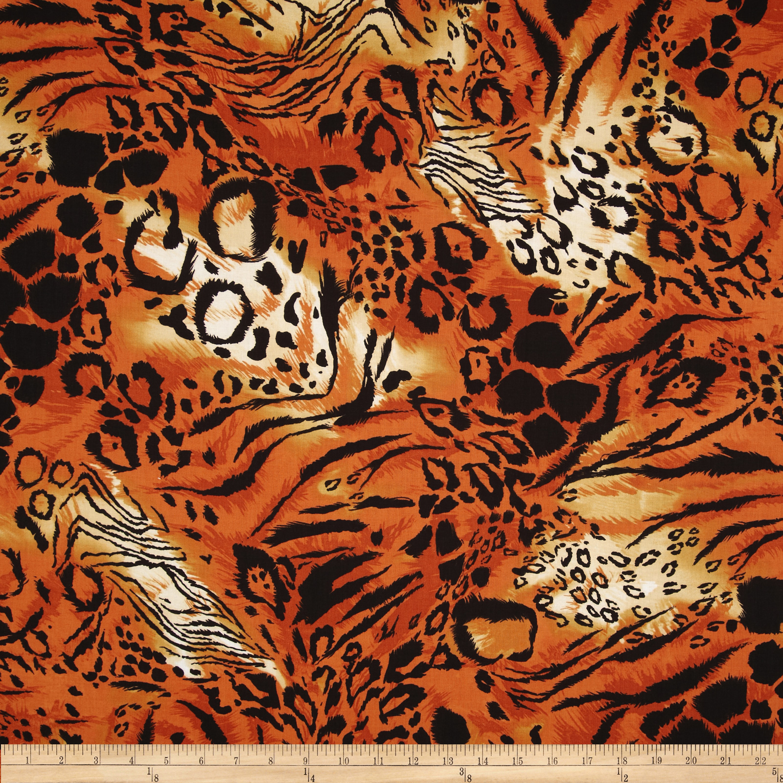 Wild Skins Animal Print Orange/Black Fabric