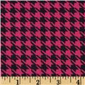 Stretch Ponte Roma Knit Houndstooth Black/Hot Pink