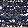 Stretch ITY Knit Damask Print Black/Navy