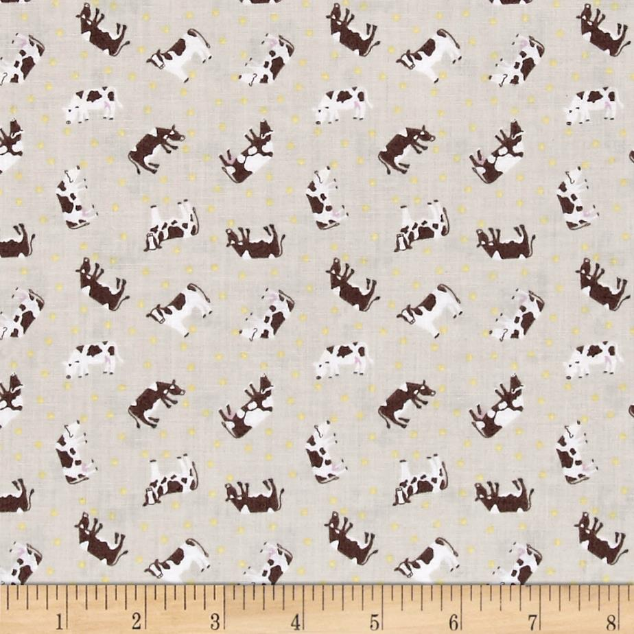 Lewis & Irene Small Things - On The Farm Brown Cows Lightest Brown