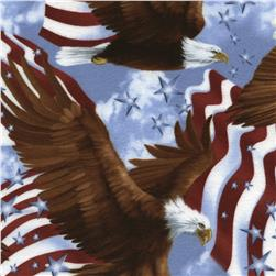 Timeless Treasures Flannel Eagles & Flags USA
