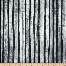 Marcia Derse Black & White Stripe White Fabric