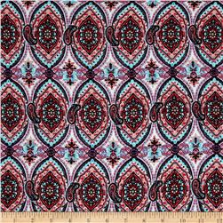 Rayon Challis Oval Medallions and Paisleys Aqua/Red/Pink