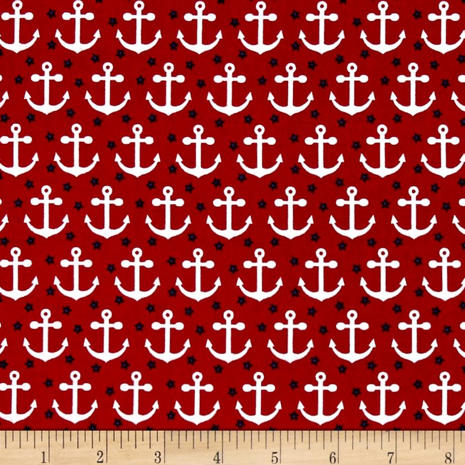 Kaufman Fabulous Foxes Anchors Red