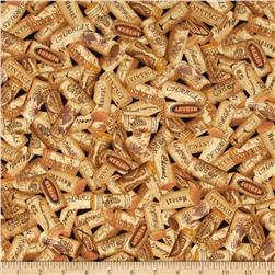 Wine Corks Tan/Brown Fabric