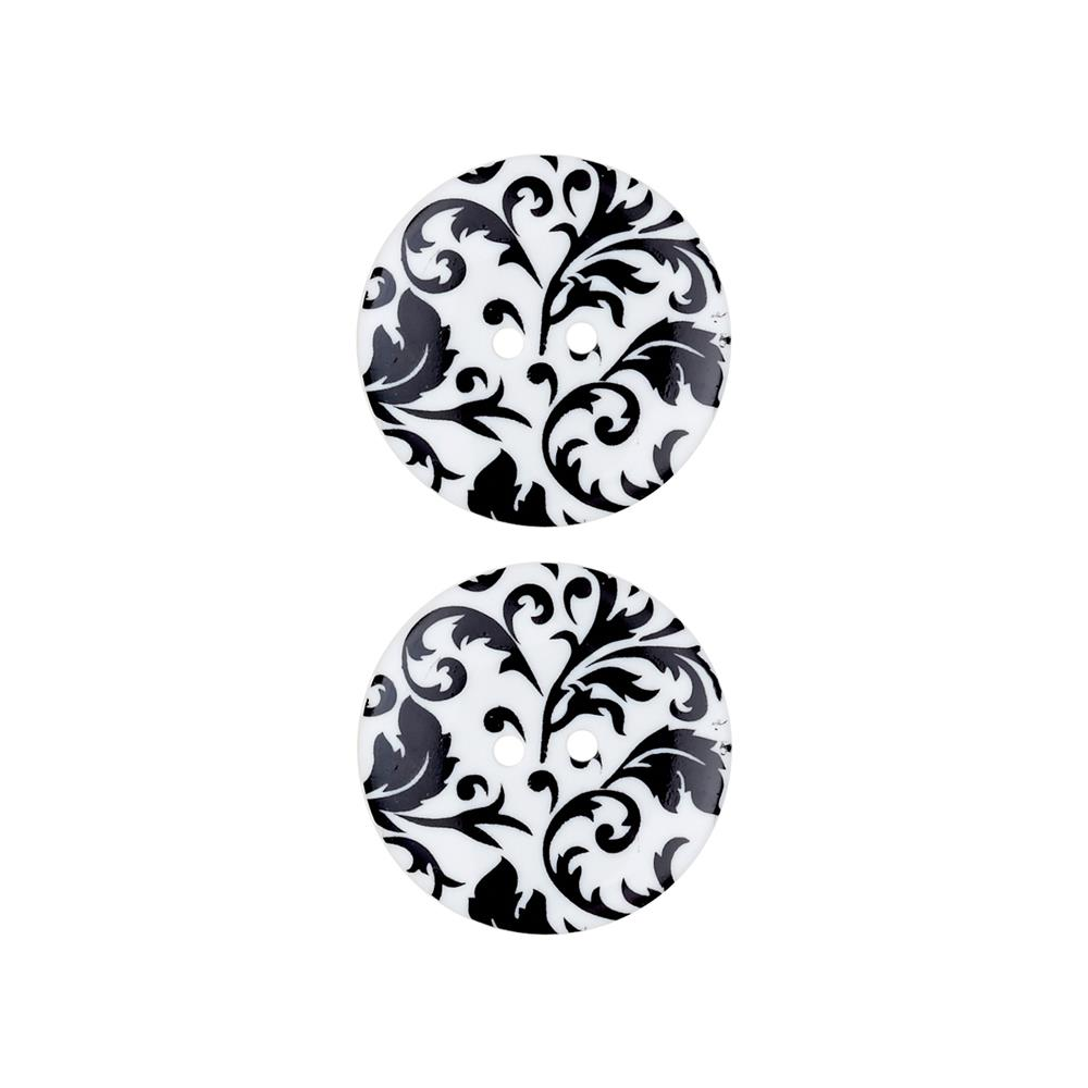 Dill Novelty Button 1'' Flourish Black/White