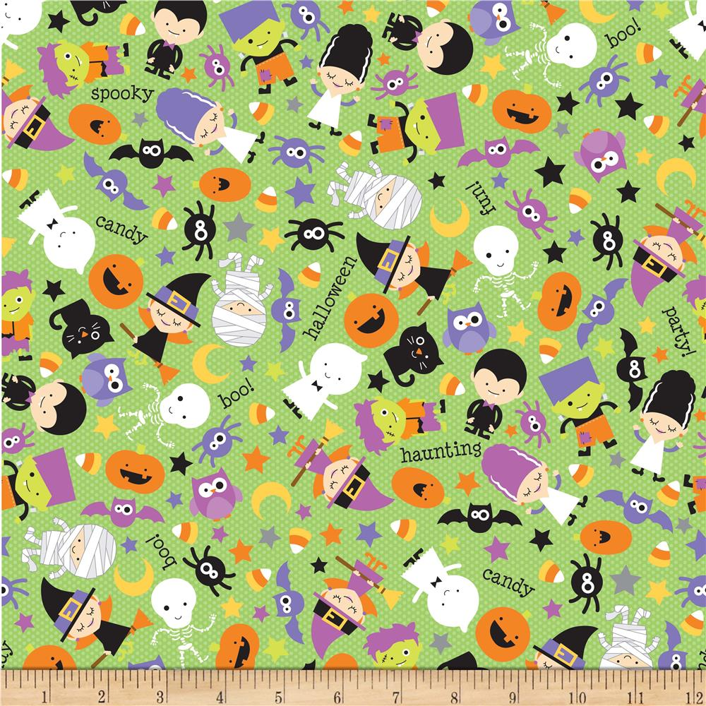 Riley Blake Halloween Parade Tossed Halloween Green