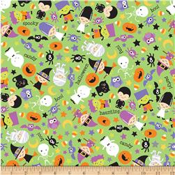 Riley Blake Halloween Parade Tossed Halloween Green Fabric