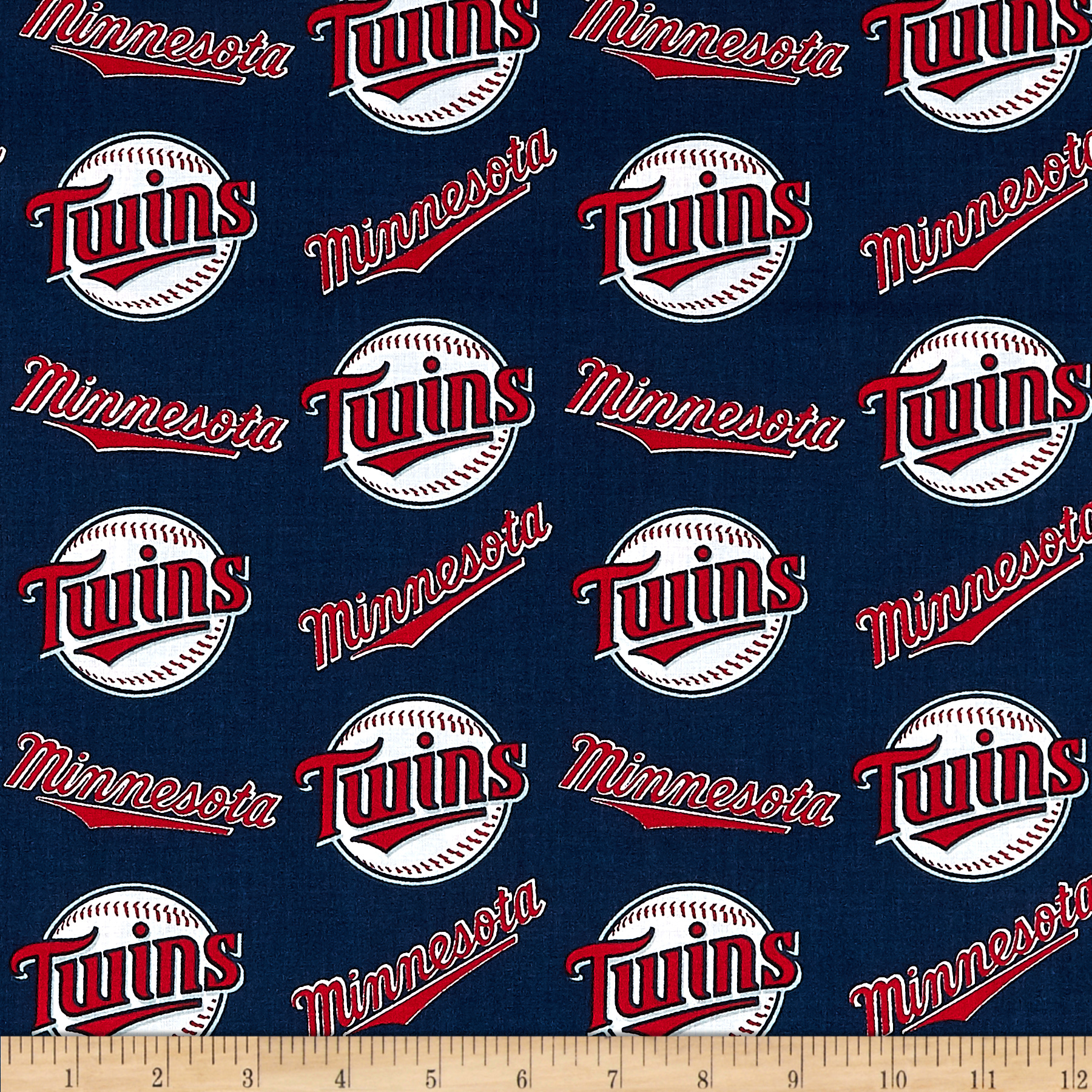 MLB Cotton Broadcloth Minnesota Twins Red/White Fabric by Fabric Traditions in USA