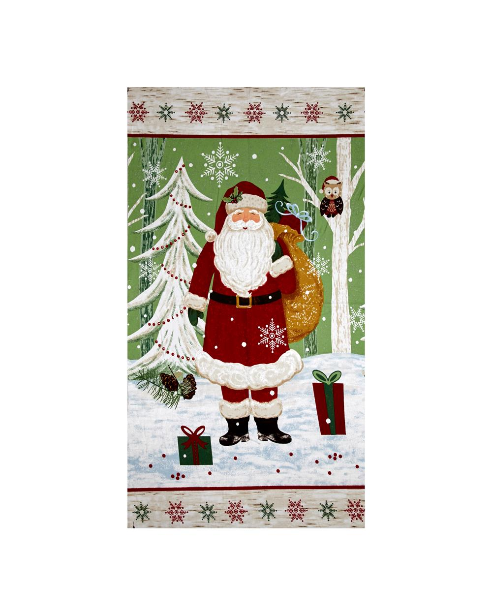 Woodland Noel Flannel Santa 24 In. Panel Green Fabric By The Yard