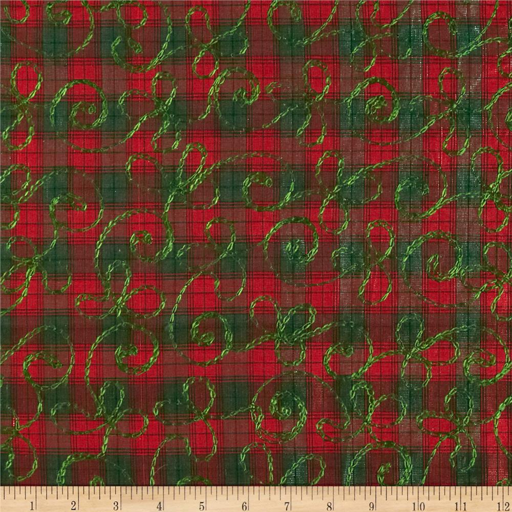 Holiday blitz embroidered plaid red green discount for Green fabric
